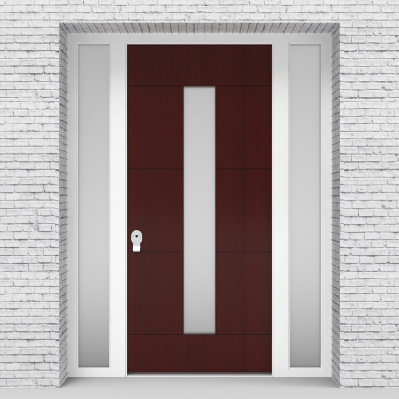 3.single Door With Two Side Panels 4 Horizontal Lines With Central Glass Mahogany