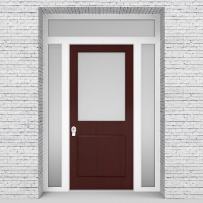 3.single Door With Two Side Panels And Transom 2 Panel With A Large Mahogany