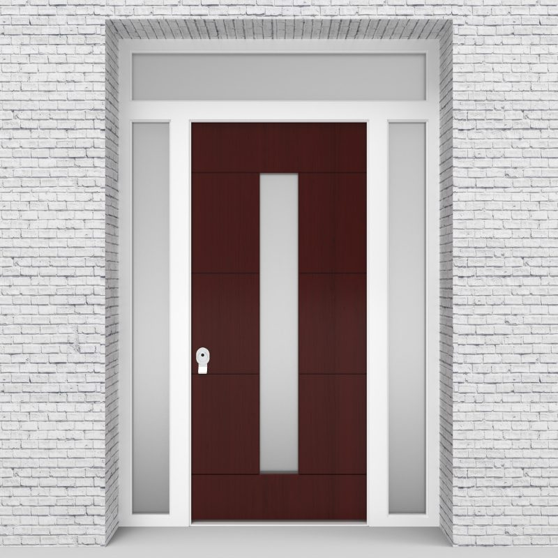 3.single Door With Two Side Panels And Transom 4 Horizontal Lines With Central Glass Mahogany