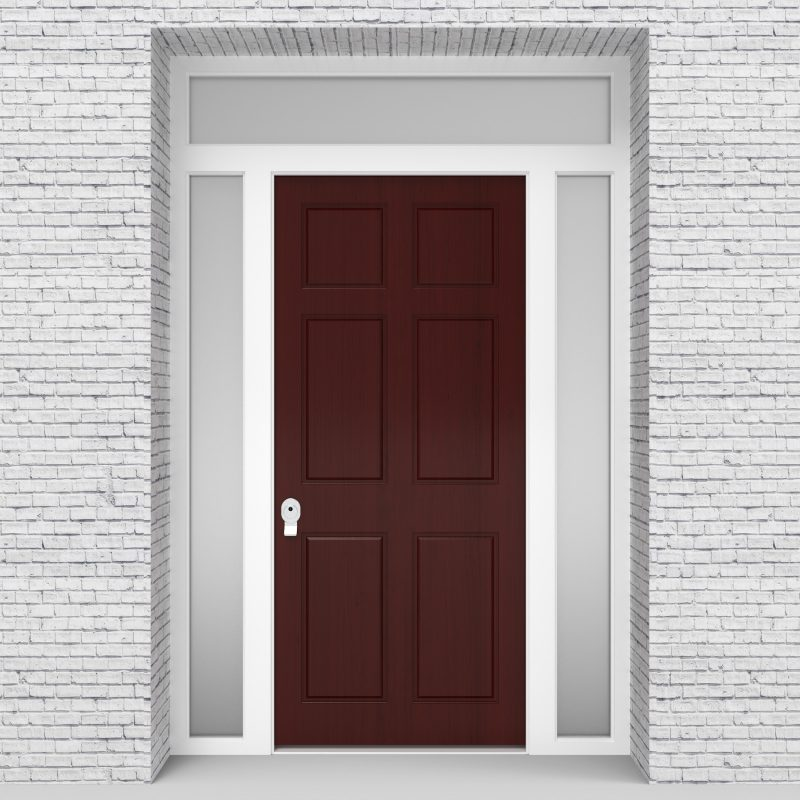 3.single Door With Two Side Panels And Transom Victorian 6 Panel Mahogany