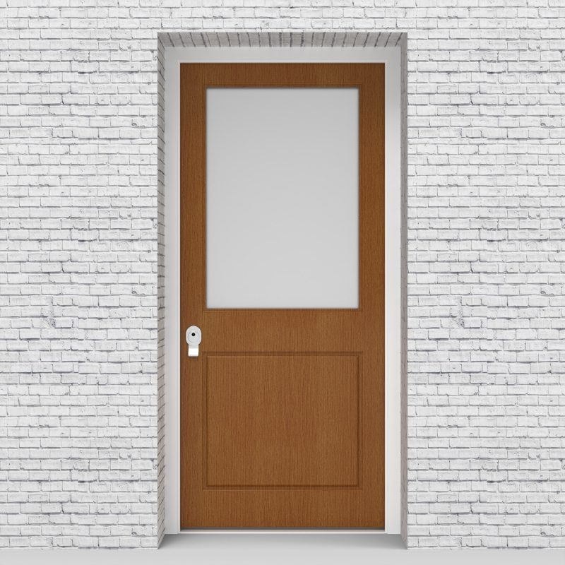 4.single Door 2 Panel With A Large Glass Pane Oak