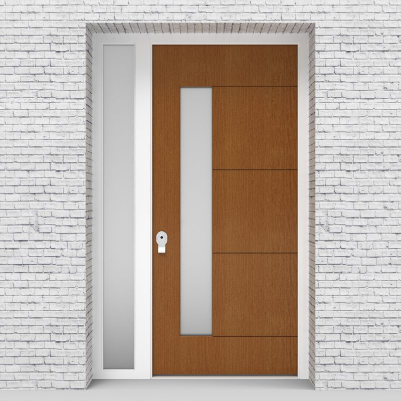 4.single Door With Left Side Panel 4 Horizontal Lines With Lock Side Glass Oak