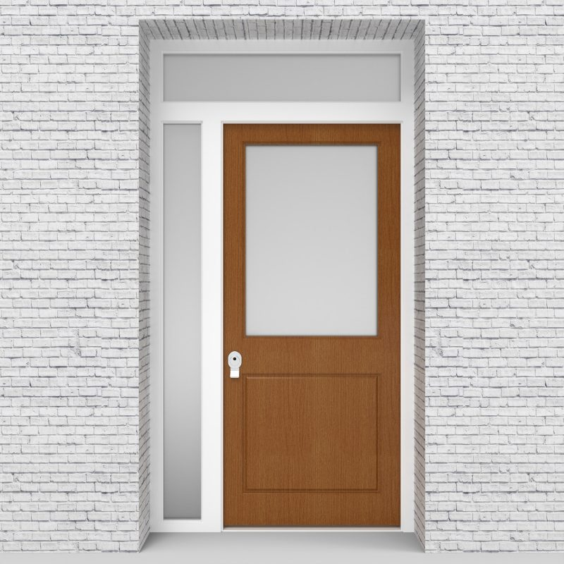 4.single Door With Left Side Panel And Transom 2 Panel With A Large Glass Oak
