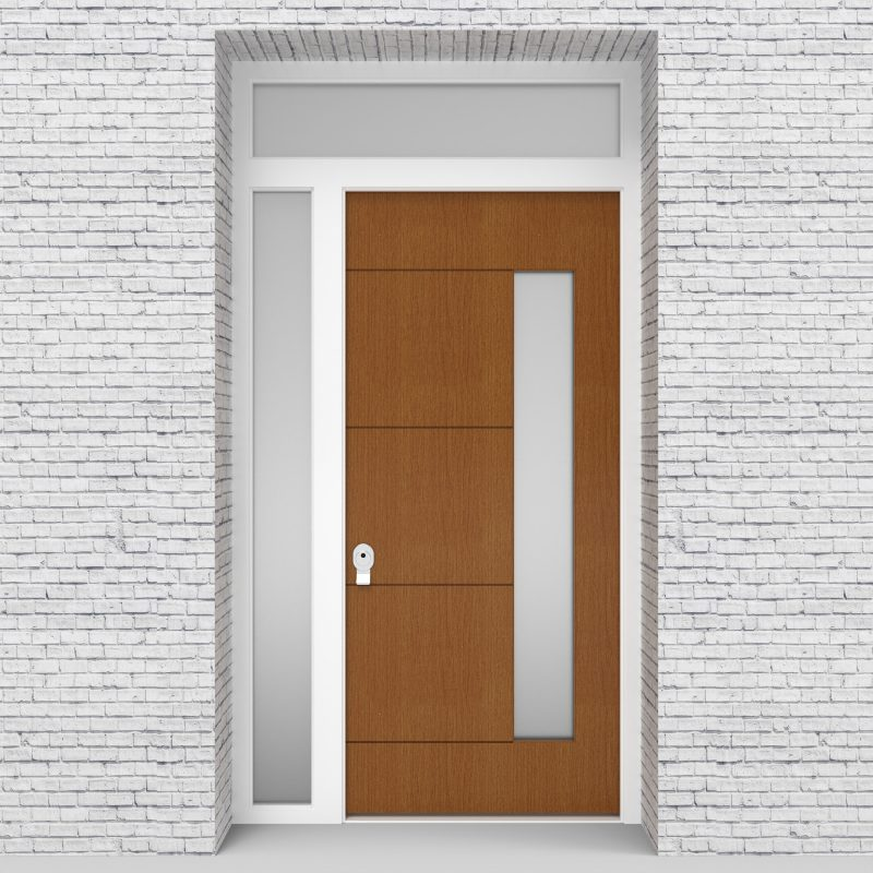 4.single Door With Left Side Panel And Transom 4 Horizontal Lines With Hinge Side Glass Oak