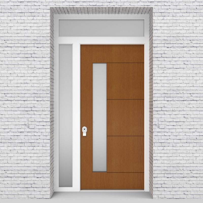 4.single Door With Left Side Panel And Transom 4 Horizontal Lines With Lock Side Glass Oak