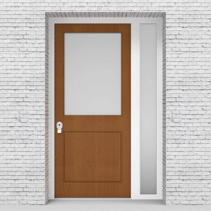 4.single Door With Right Side Panel 2 Panel With A Large Glass Pane Oak