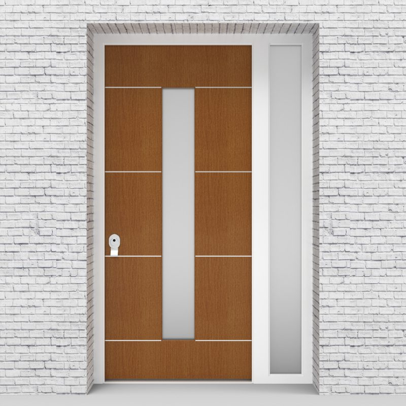 4.single Door With Right Side Panel 4 Aluminium Inlays With Central Glass Oak