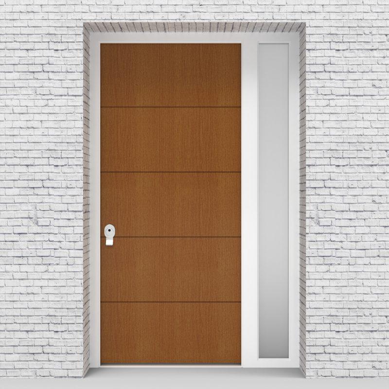4.single Door With Right Side Panel 4 Horizontal Lines Oak