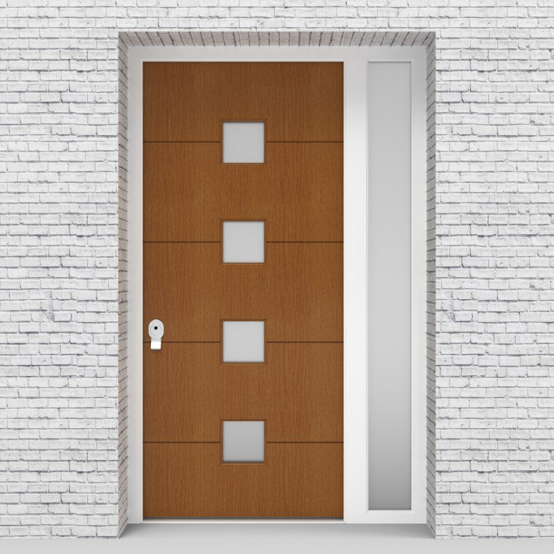 4.single Door With Right Side Panel 4 Horizontal Lines With 4 Glass Oak