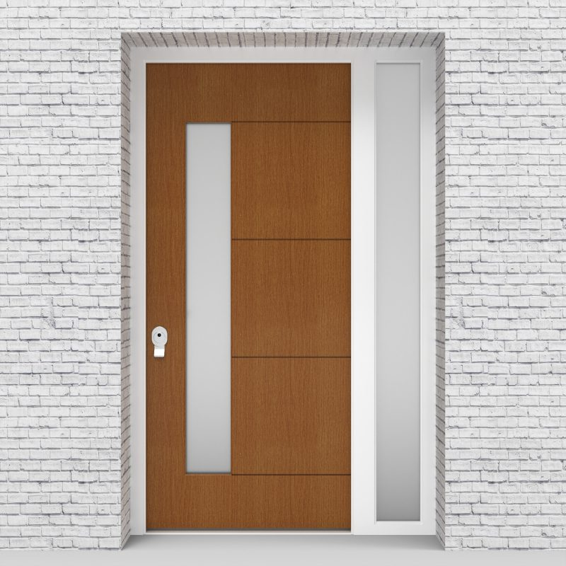 4.single Door With Right Side Panel 4 Horizontal Lines With Lock Side Glass Oak