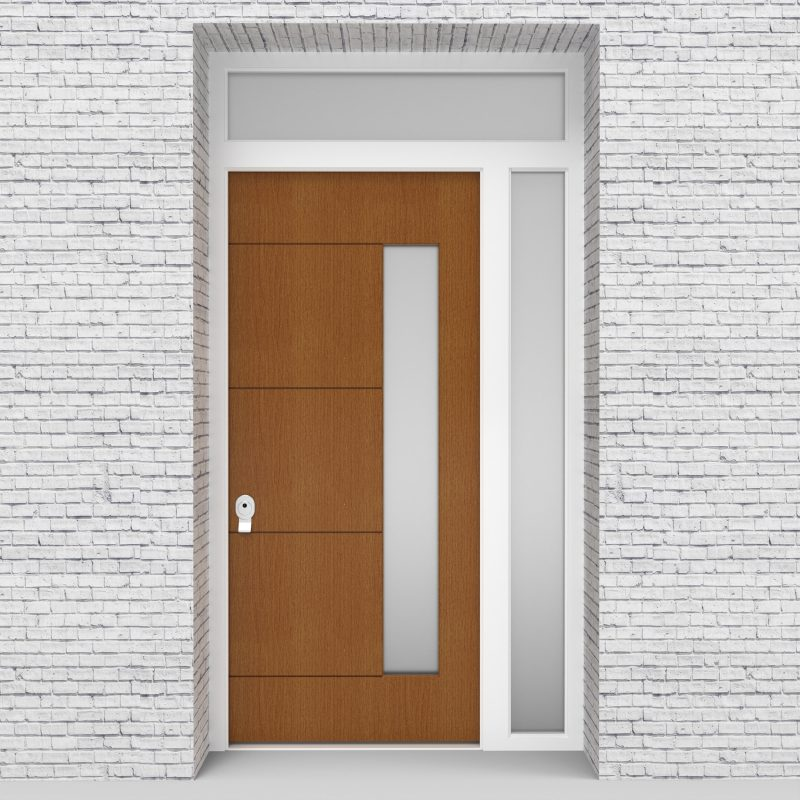 4.single Door With Right Side Panel And Transom 4 Horizontal Lines With Hinge Side Glass Oak