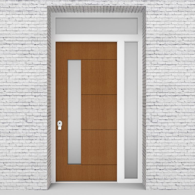 4.single Door With Right Side Panel And Transom 4 Horizontal Lines With Lock Side Glass Oak