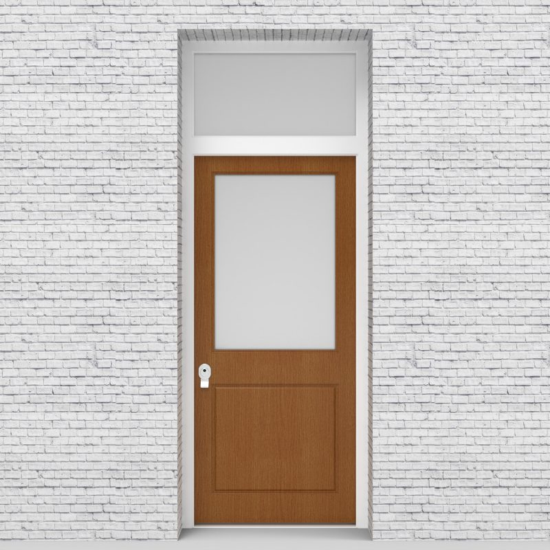 4.single Door With Transom 2 Panel With A Large Glass Pane Oak