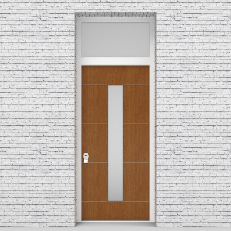 4.single Door With Transom 4 Aluminium Inlays With Central Glass Oak