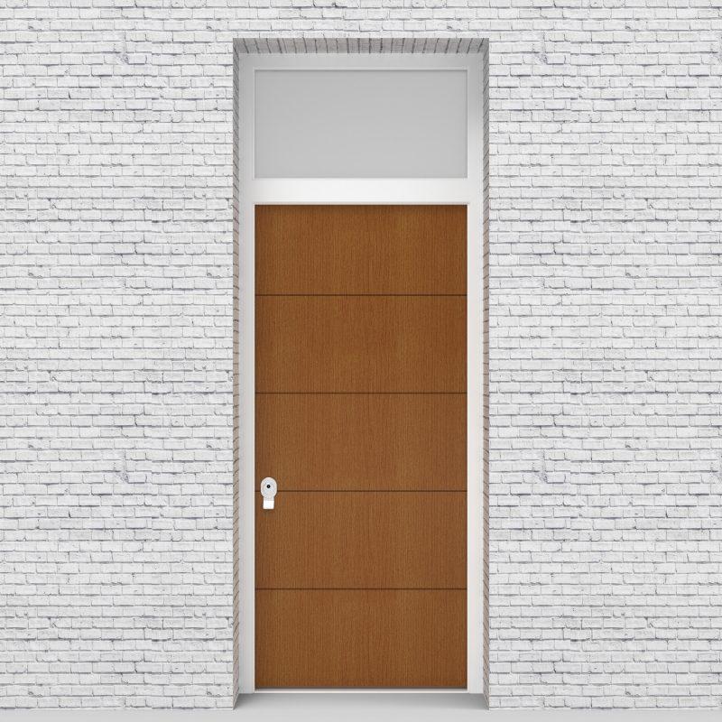 4.single Door With Transom 4 Horizontal Lines Oak