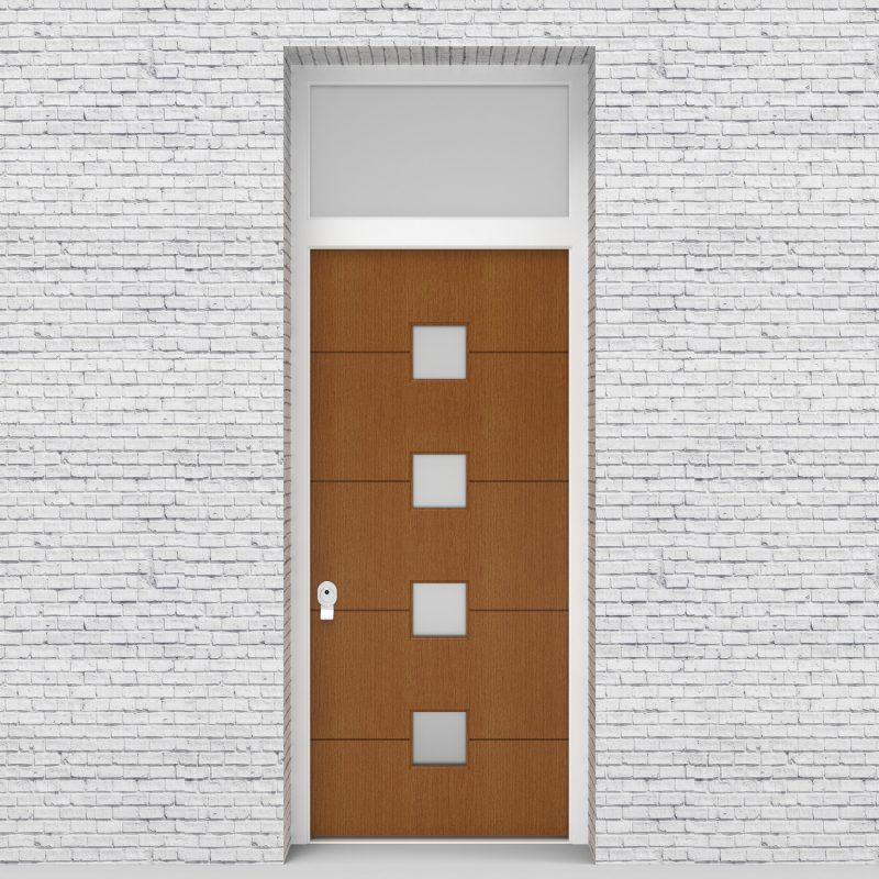 4.single Door With Transom 4 Horizontal Lines With 4 Glass Squares Oak