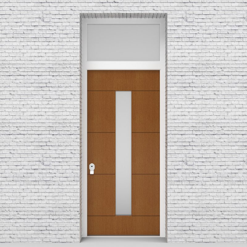 4.single Door With Transom 4 Horizontal Lines With Central Glass Oak