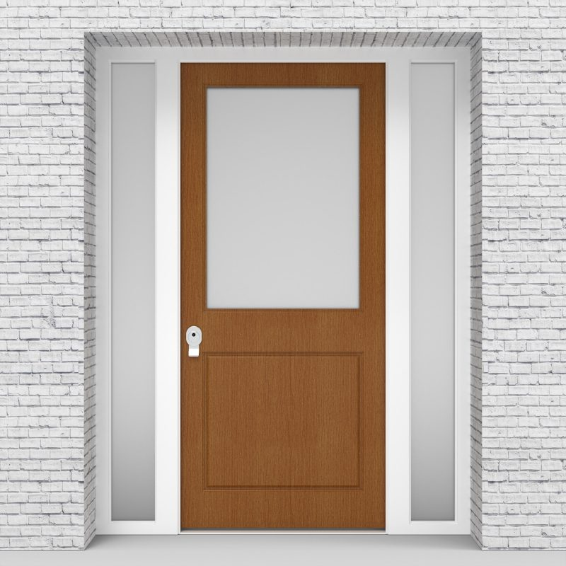 4.single Door With Two Side Panels 2 Panel With A Large Glass Panel Oak