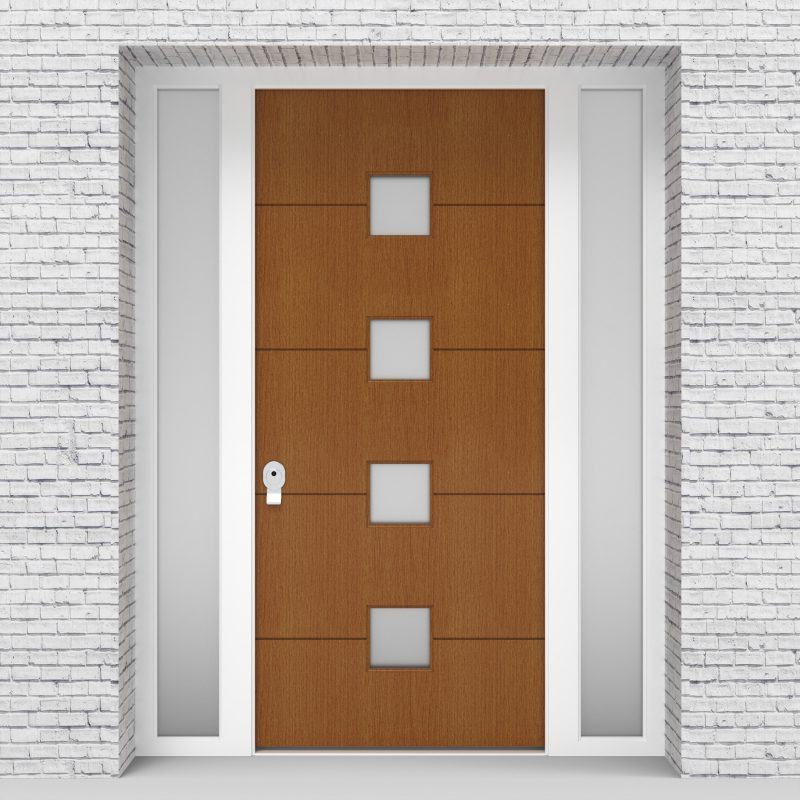 4.single Door With Two Side Panels 4 Horizontal Lines With 4 Glass Oak