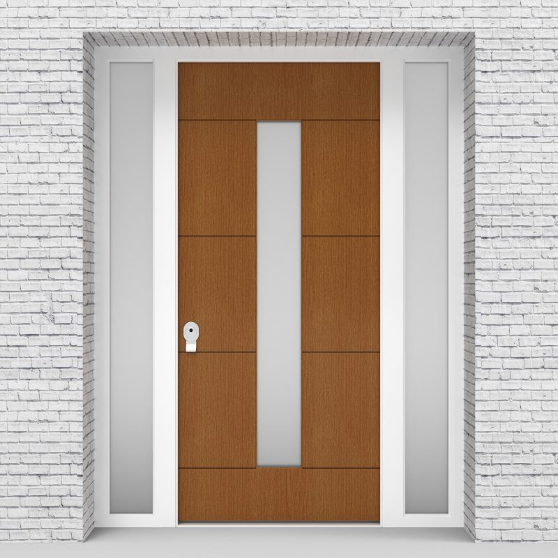 4.single Door With Two Side Panels 4 Horizontal Lines With Central Glass Oak