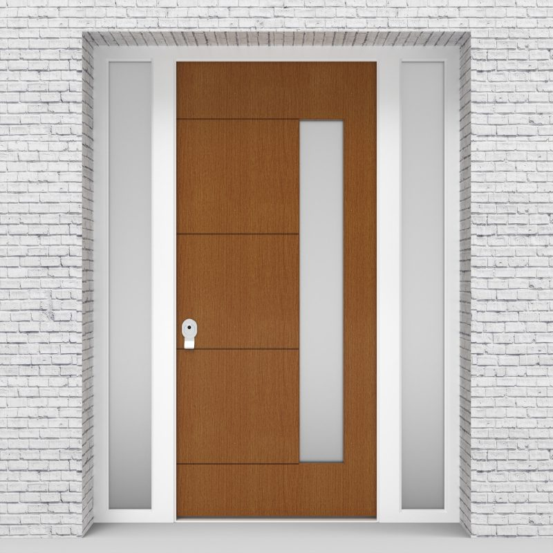 4.single Door With Two Side Panels 4 Horizontal Lines With Hinge Side Glass Oak