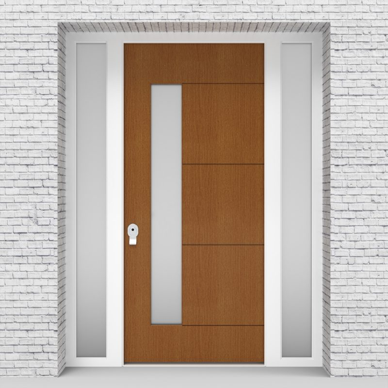 4.single Door With Two Side Panels 4 Horizontal Lines With Lock Side Glass Oak