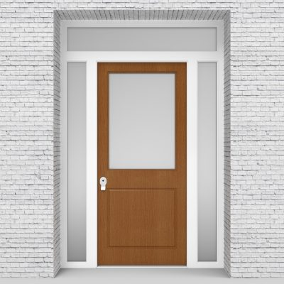 4.single Door With Two Side Panels And Transom 2 Panel With A Large Oak