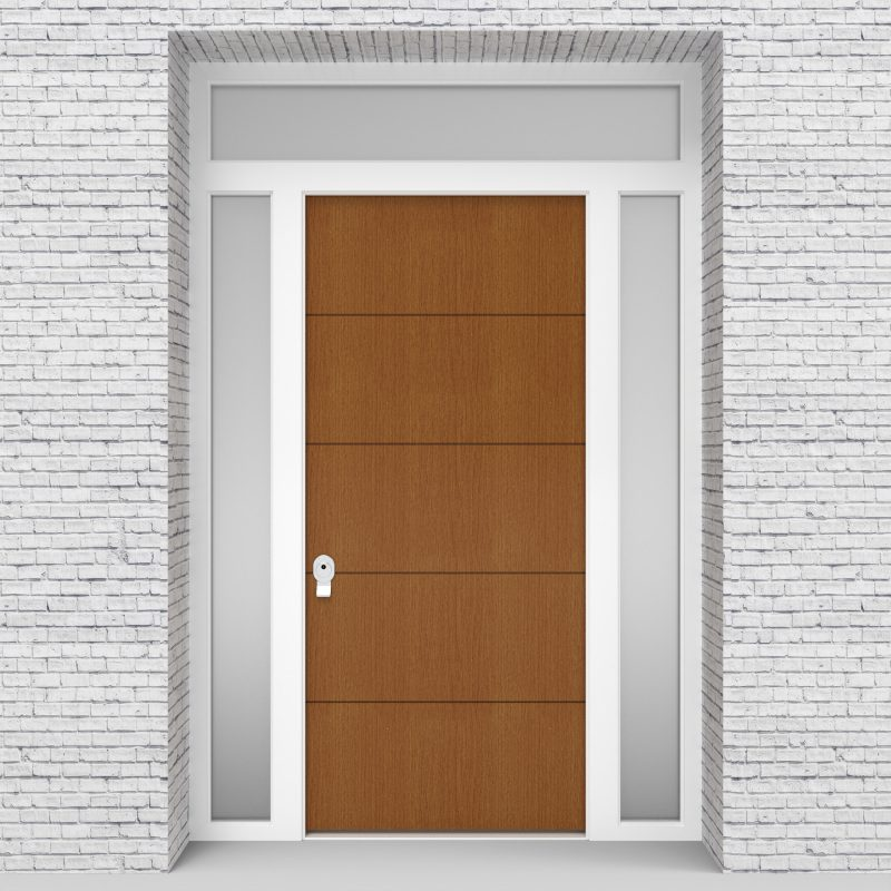 4.single Door With Two Side Panels And Transom 4 Horizontal Lines Oak