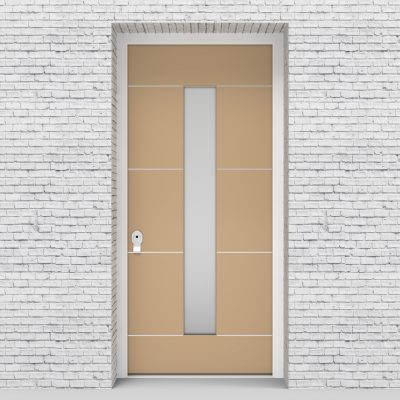 7.single Door 4 Aluminium Inlays With Central Glass Light Ivory (ral1015)