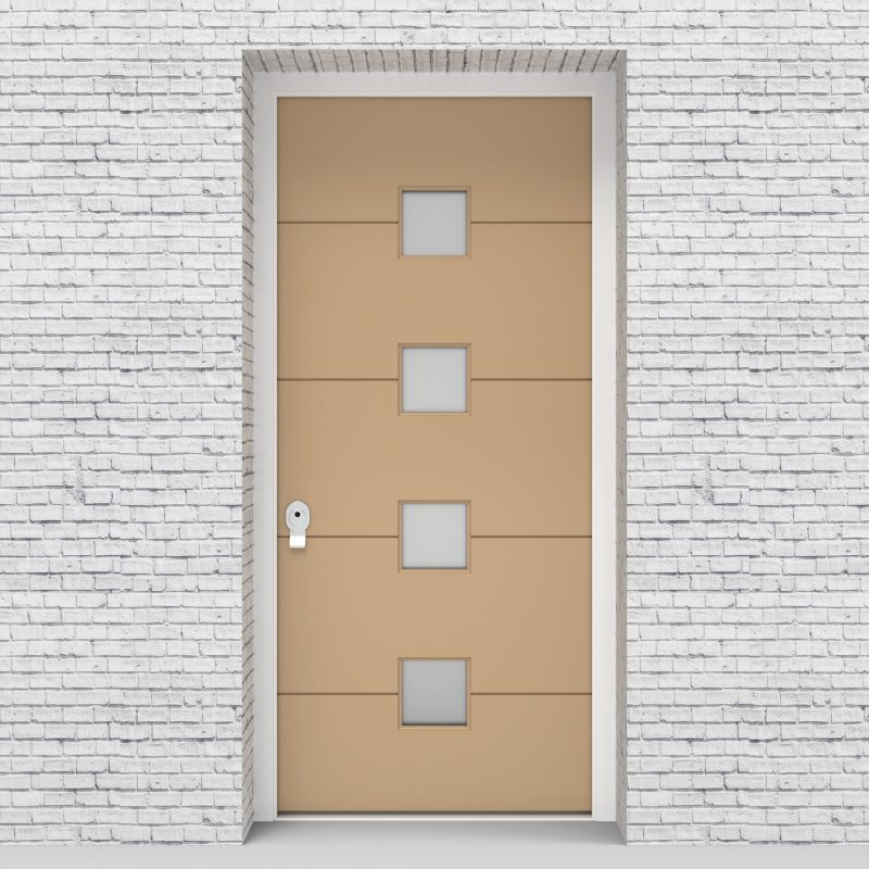 7.single Door 4 Horizontal Lines With 4 Glass Squares Light Ivory (ral1015)