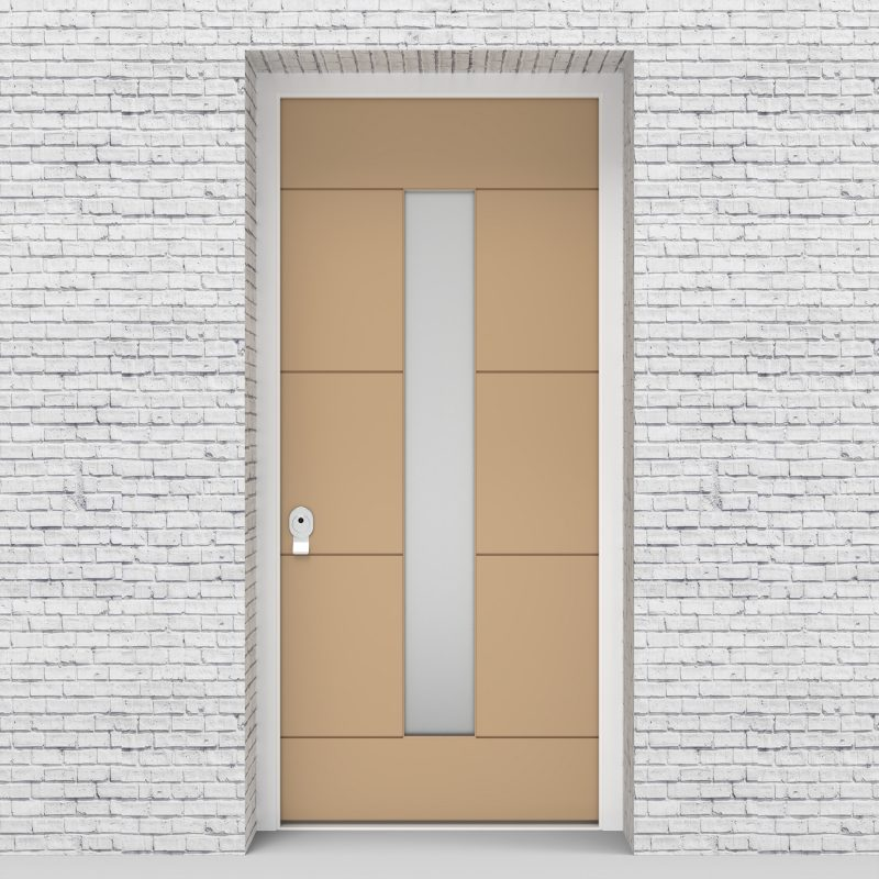 7.single Door 4 Horizontal Lines With Central Glass Light Ivory (ral1015)