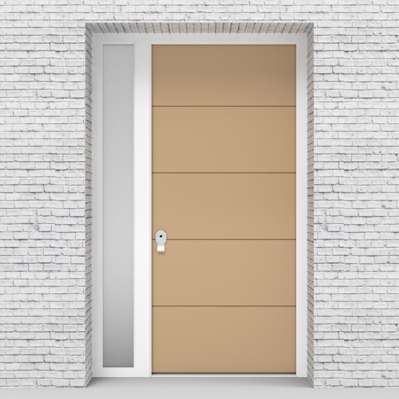 7.single Door With Left Side Panel 4 Horizontal Lines Light Ivory (ral1015)