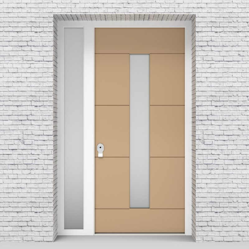 7.single Door With Left Side Panel 4 Horizontal Lines With Central Glass Light Ivory (ral1015)