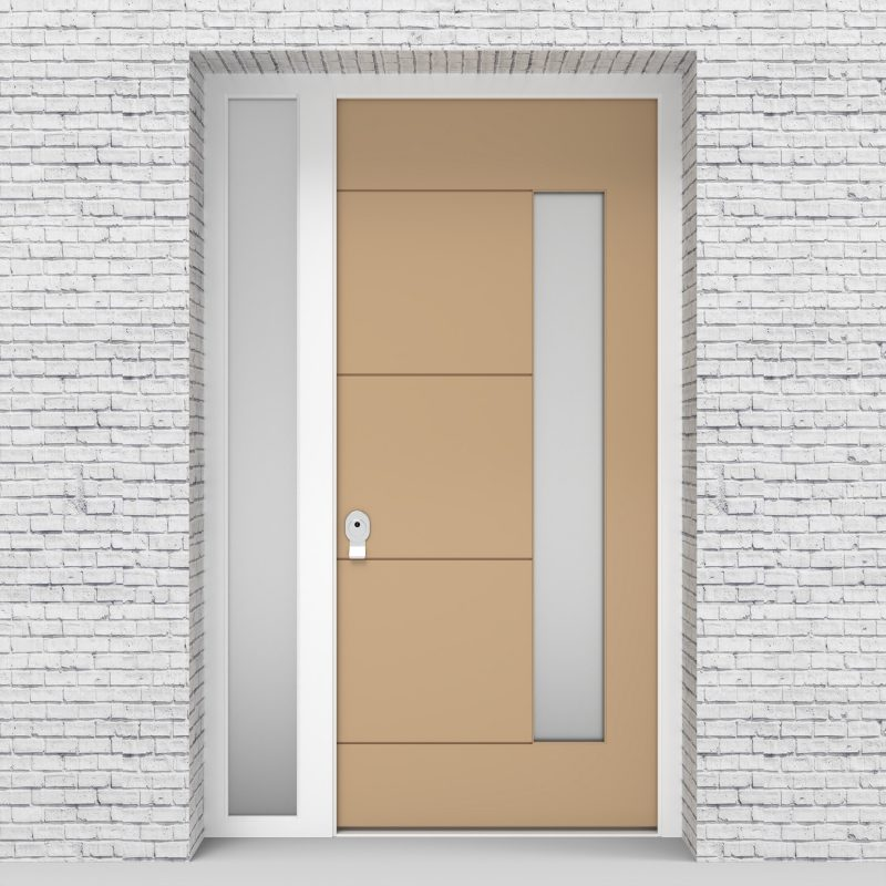 7.single Door With Left Side Panel 4 Horizontal Lines With Hinge Side Glass Light Ivory (ral1015)