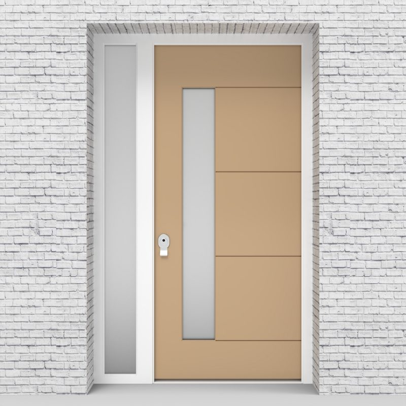 7.single Door With Left Side Panel 4 Horizontal Lines With Lock Side Glass Light Ivory (ral1015)