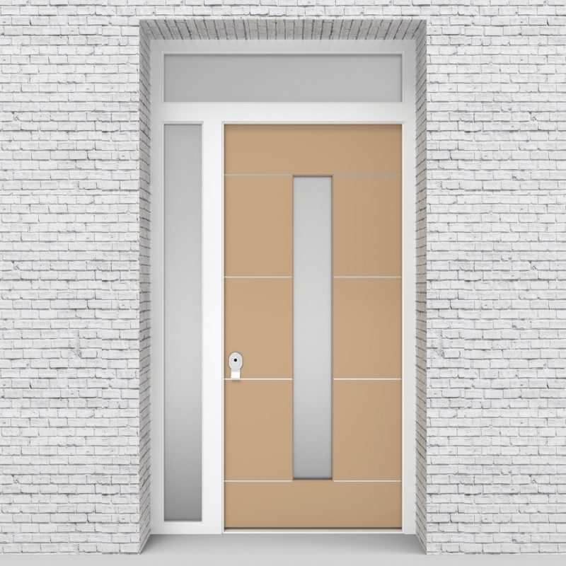 7.single Door With Left Side Panel And Transom 4 Aluminium Inlays With Central Glass Light Ivory (ral1015)