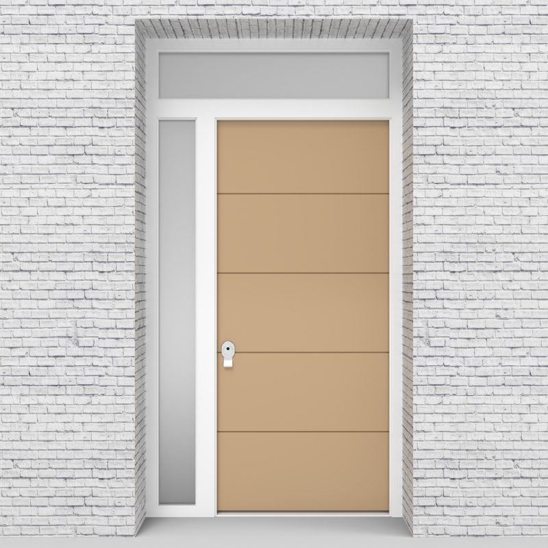 7.single Door With Left Side Panel And Transom 4 Horizontal Lines Light Ivory (ral1015)