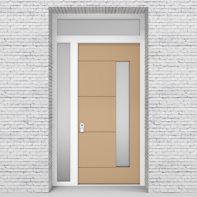 7.single Door With Left Side Panel And Transom 4 Horizontal Lines With Hinge Side Glass Light Ivory (ral1015)