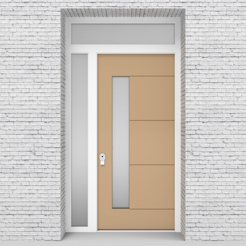 7.single Door With Left Side Panel And Transom 4 Horizontal Lines With Lock Side Glass Light Ivory (ral1015)