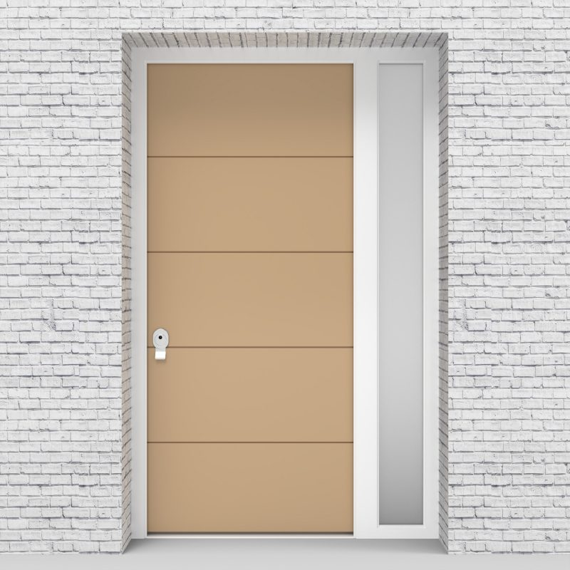 7.single Door With Right Side Panel 4 Horizontal Lines Light Ivory (ral1015)