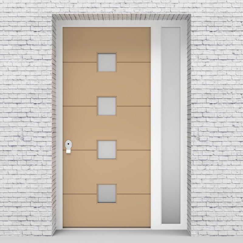 7.single Door With Right Side Panel 4 Horizontal Lines With 4 Glass Light Ivory (ral1015)