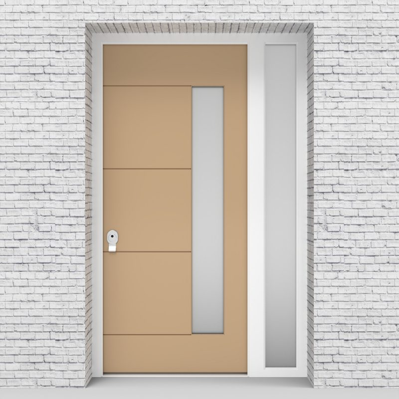 7.single Door With Right Side Panel 4 Horizontal Lines With Hinge Side Glass Light Ivory (ral1015)
