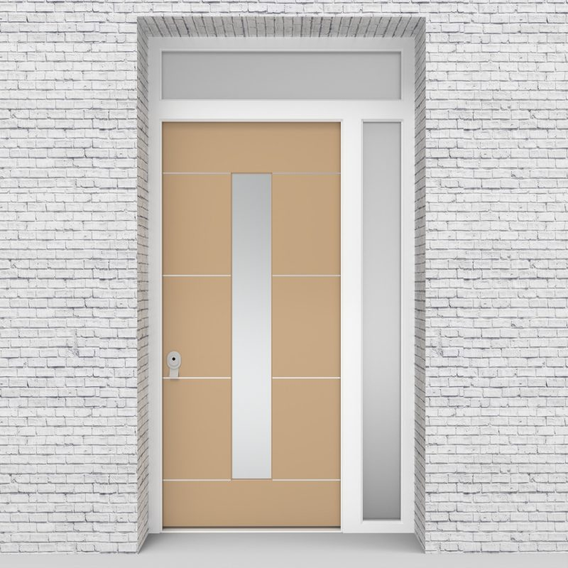 7.single Door With Right Side Panel And Transom 4 Aluminium Inlays With Central Glass Light Ivory (ral1015)