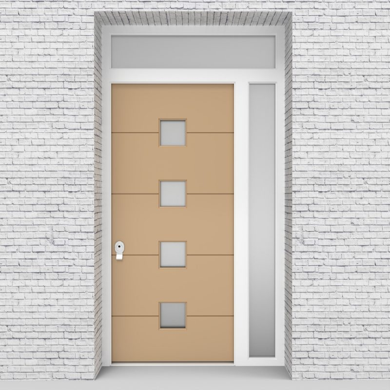 7.single Door With Right Side Panel And Transom 4 Horizontal Lines Light Ivory (ral1015)
