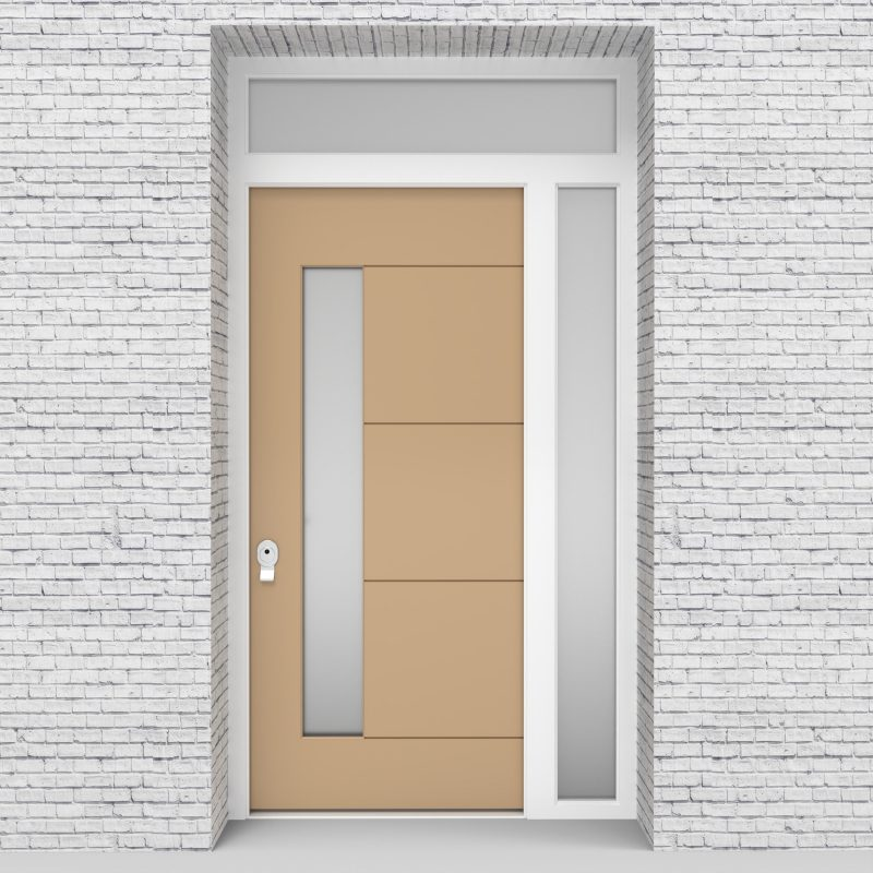 7.single Door With Right Side Panel And Transom 4 Horizontal Lines With Lock Side Glass Light Ivory (ral1015)