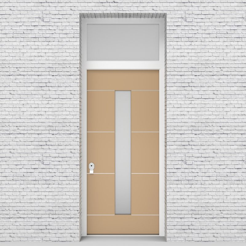 7.single Door With Transom 4 Aluminium Inlays With Central Glass Light Ivory (ral1015)