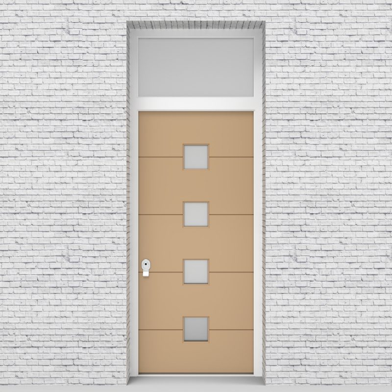 7.single Door With Transom 4 Horizontal Lines With 4 Glass Squares Light Ivory (ral1015)