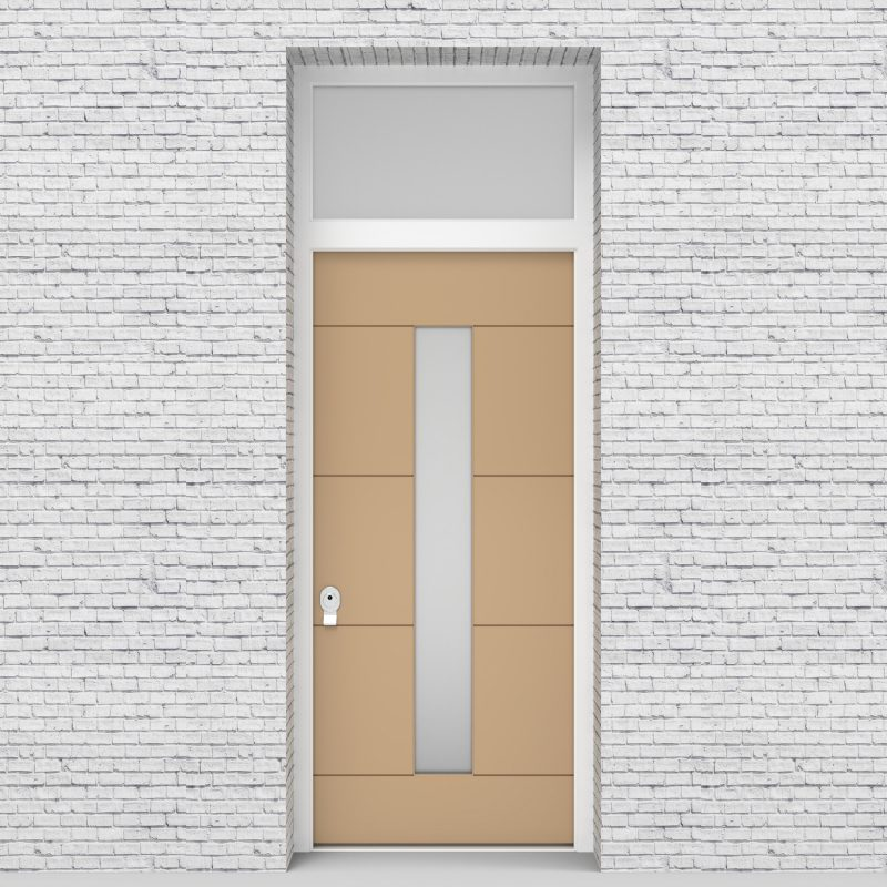 7.single Door With Transom 4 Horizontal Lines With Central Glass Light Ivory (ral1015)