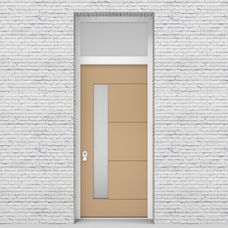 7.single Door With Transom 4 Horizontal Lines With Lock Side Glass Light Ivory (ral1015)