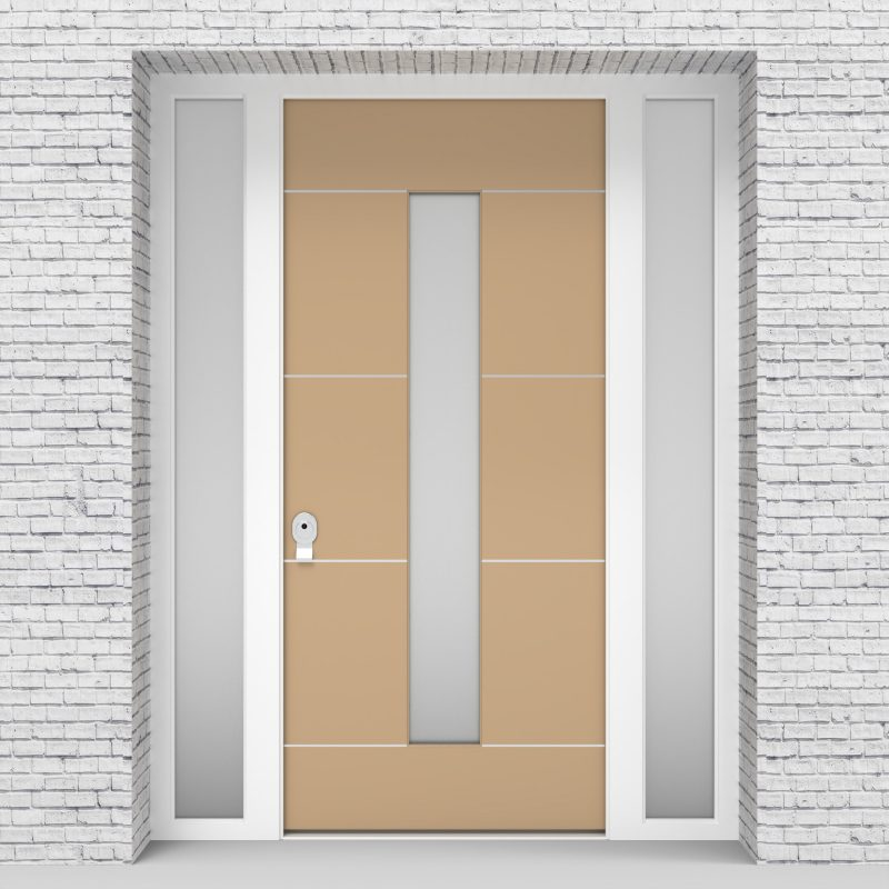 7.single Door With Two Side Panels 4 Aluminium Inlays With Central Glass Light Ivory (ral1015)